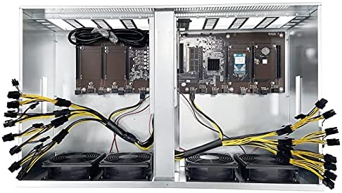 BsCom 68mm Card Pitch 8GPU Mining Case for Complete Bitcoin ETH Mining Rig with 1800w Power Supply Modular, Mining Rig Frame Including Mining Motherboard, RAM, SSD,Cooling Fans