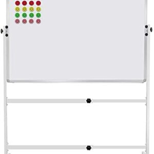 """48""""x36"""" Mobile Whiteboard Magnetic Dry Erase Board on Wheels Adjustable Height and Angle Portable Rolling White Boards for School, Office, Home"""