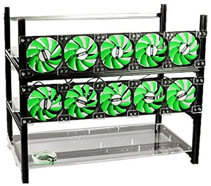 12GPU Open Air Frame Mining Rig Aluminum Case with 10 Fans For ETH ZEC/Bitcoin