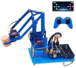 KEYESTUDIO 4DOF Metal Robot Arm Starte Kit for Arduino, Electronic Coding Robotics Arm DIY Set for Kids & Adults, Support PS2 Joypad Control, Bluetooth Remote Control by Android/iOS App PC