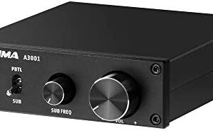 AIYIMA 200W Subwoofer Amplifier Mono Amplifier Class D Amp with Full-Frequency and Sub Bass Switchable TPA3255D2 Home Audio Sub Amp & DC 32V Power Adapter (Black-200W)
