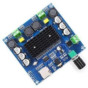 Acxico 1Pcs XH-A105 Bluetooth 5.0 Amplifier Board Dual Channel 2 x 100W Digital Power Amplifier Module DC 12-30V with Volume Potentiometer