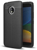 DEVMO Compatible with Motorola Moto G5 TPU Bionic Leather Gel Rubber Full Body Protection Shockproof Cover Case Drop Protection Black